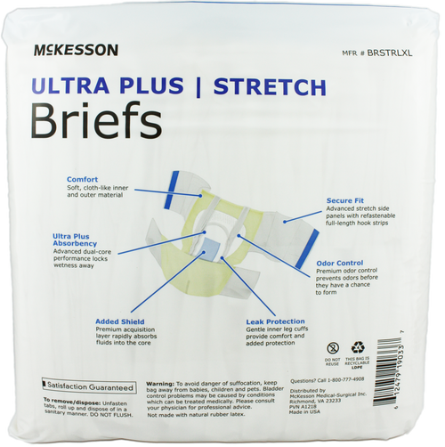 McKesson Ultra Plus Stretch Adult Diapers with Tabs, Heavy