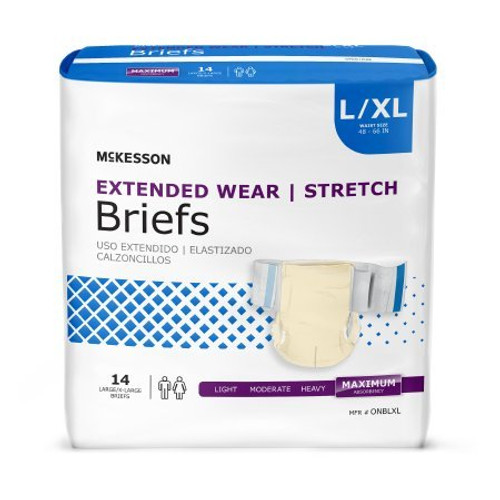 McKesson Extended Wear Stretch Adult Diapers with Tabs, Maximum