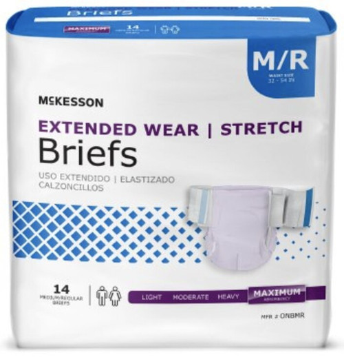 McKesson Extended Wear Stretch Briefs with Tabs, Maximum