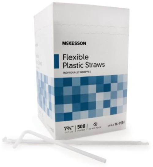 McKesson Flexible Drinking Straws, White
