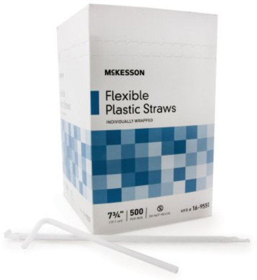McKesson Flexible Drinking Straws - White