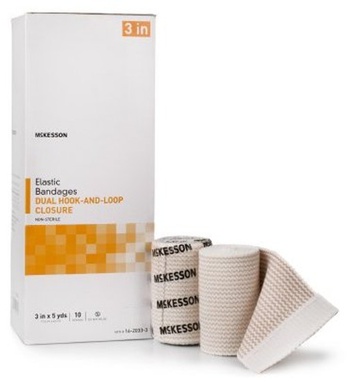 McKesson Double Hook and Loop Closure Elastic Bandage, NonSterile