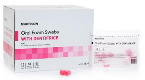 McKesson Oral Swabstick - Foam Tip Dentifrice