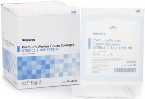 McKesson USP Type VII Cotton 12-Ply Gauze Sponge, Sterile