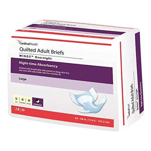 Cardinal Wings Quilted Adult Diapers with Tabs, Overnight