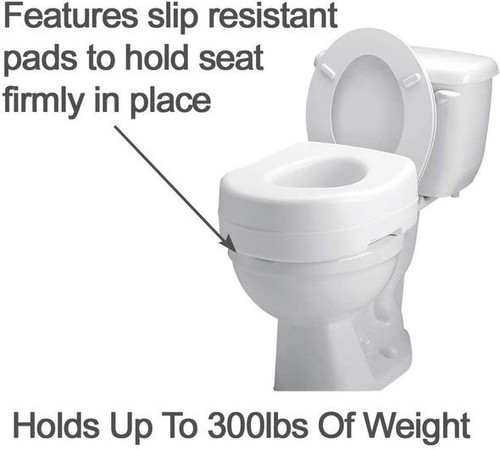 """Carex Raised Toilet Seat with Rubber Pads, 5.5"""""""