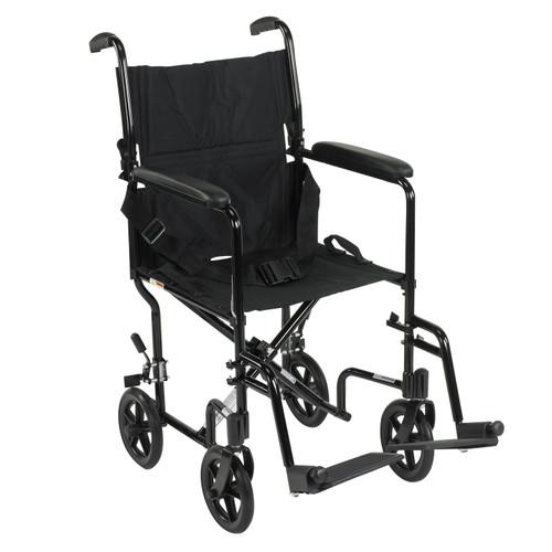 Drive Lightweight Black Transport Wheelchair, ATC17-BK-EA1, 1 Chair