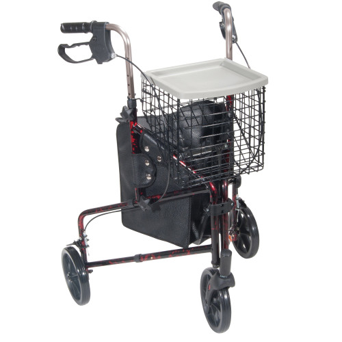 Drive Deluxe 3 Wheel Red Folding Rollator with Basket, 10289RD-EA1, 1 Rollator
