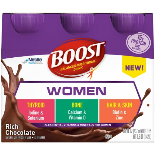 Package of Rich Chocolate Boost Women Ready to Use Oral Supplement