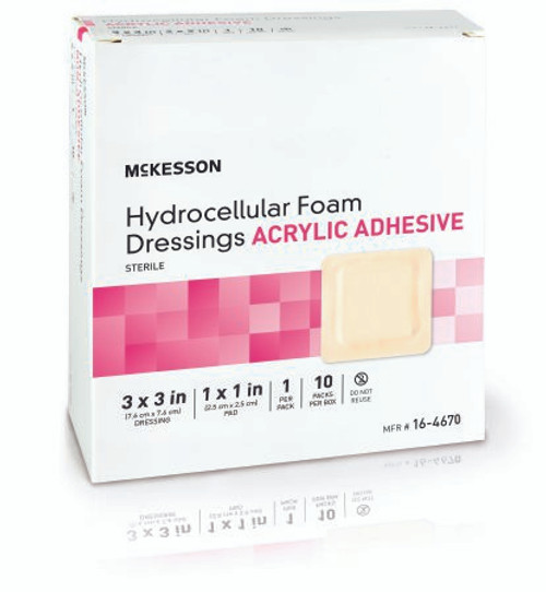 Package of 3 X 3 McKesson Hydrocellular Foam Dressings Acrylic Adhesive