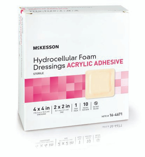 Package of 4 X 4 McKesson Hydrocellular Foam Dressings Acrylic Adhesive