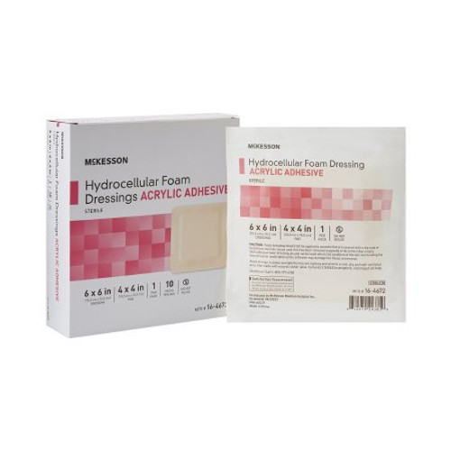 Package of 6 X 6 McKesson Hydrocellular Foam Dressings Acrylic Adhesive