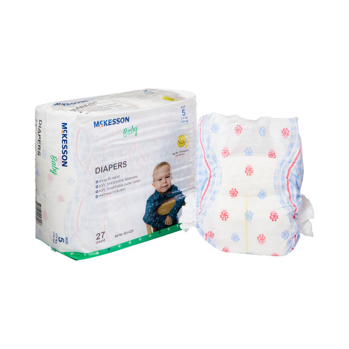 McKesson Disposable Unisex Baby Diaper with Tabs, Moderate, BD-SZ5, Size 5 Over 27 lbs - Case of 108