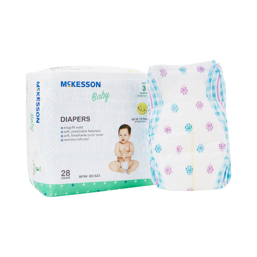 McKesson Disposable Unisex Baby Diaper with Tabs, Moderate, BD-SZ3, Size 3 16-28 lbs - Bag of 28
