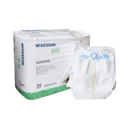 McKesson Disposable Unisex Baby Diaper with Tabs, Moderate, BD-SZ2, Size 2 12-18 lbs - Bag of 34