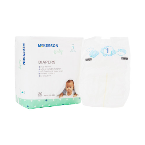 McKesson Disposable Unisex Baby Diaper with Tabs, Moderate, BD-SZ1, Size 1 8-14 lbs - Bag of 20