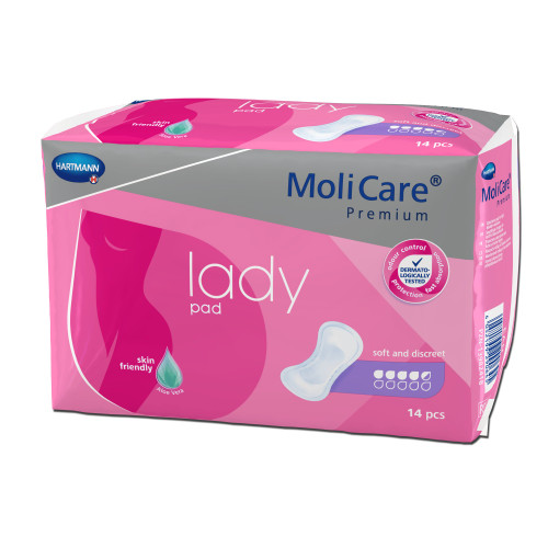 MoliCare Premium Adult Female Disposable Bladder Control Pad, Moderate, 168654, One Size Fits 4.5 Drops - Bag of 14