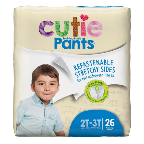 Cutie Pants Disposable Male Toddler Training Pants, Heavy, CR7007, Sea Animals, Size 2T-3T, Up to 34 lbs - Bag of 26