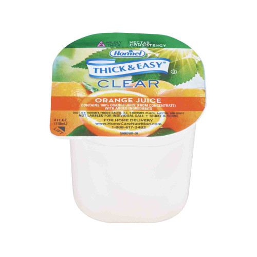 Thick & Easy Ready to Use Thickened Beverage, Orange Juice Flavor, 4 oz., Portion Cup, 49144, Case of 24 Cups