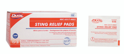 Dukal Sting and Bite Relief Wipe, Individual Packet, 856, Case of 4000