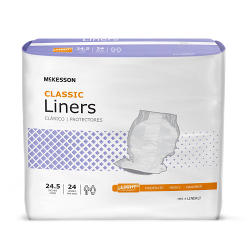 McKesson Classic Disposable Incontinence Liner, Light Absorbency, LINERLT, One Size Fits Most - Case of 96