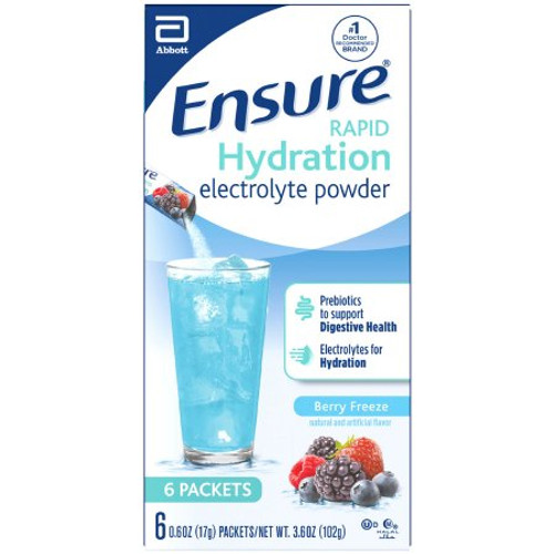 Ensure Oral Supplement Rapid Hydration Electrolyte Powder, Berry Freeze Flavor, 0.7 oz., Individual Packet, 67475, Case of 36