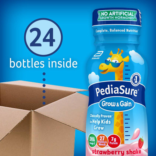 PediaSure Grow & Gain Ready to Use Pediatric Oral Supplement Shake, Strawberry Flavor, 8 oz., Bottle, 58055, 6 Bottles