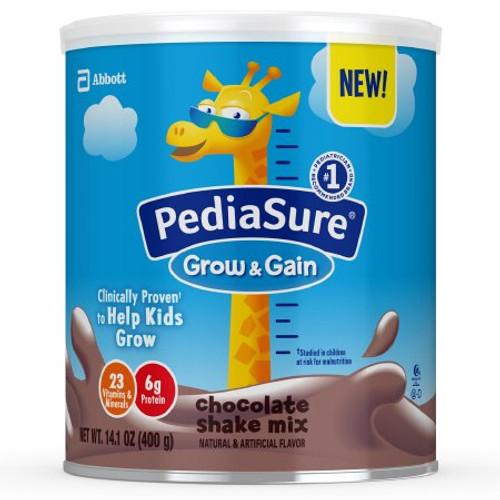 PediaSure Grow & Gain Pediatric Oral Supplement Shake Mix Powder, Chocolate Flavor, 14.1 oz., Can , 66960, Case of 6 Cans