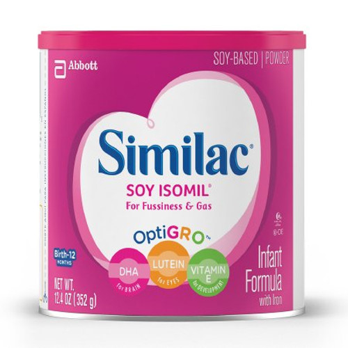 Similac Soy Isomil For Fussiness and Gas Infant Formula Powder, 12.4 oz., Can, 55963, Case of 6 Cans