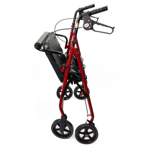 McKesson Folding Bariatric 4 Wheel Rollator, Red, Steel Frame, 146-10216RD-1, 1 Rollator