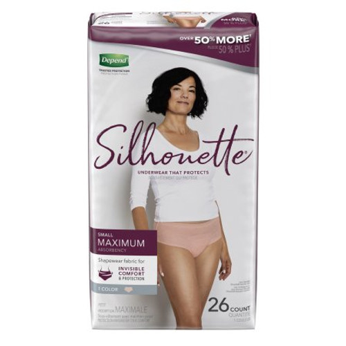 """Depend Silhouette Disposable Female Adult Pull On Underwear with Tear Away Seams, Heavy Absorbency, Pink, 51449, Small (28-36"""") - Pack of 26"""