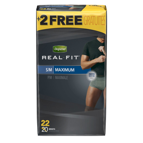 """Depend Real Fit Disposable Male Adult Pull On Underwear with Tear Away Seams, Heavy Absorbency, 50976, Small (28-40"""") - Case of 44"""