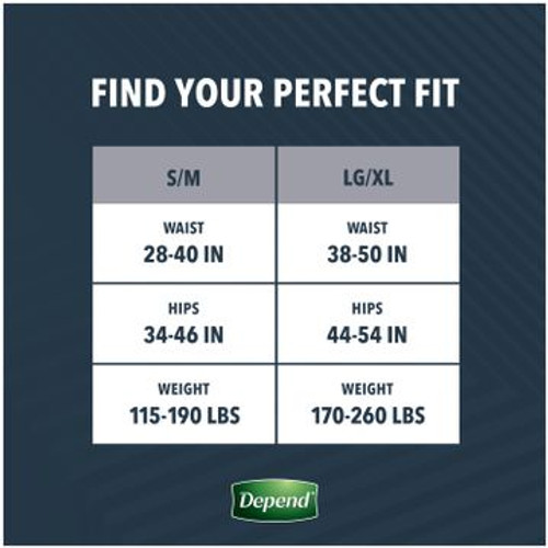 Depend Real Fit Disposable Male Adult Pull On Underwear with Tear Away Seams, Heavy Absorbency