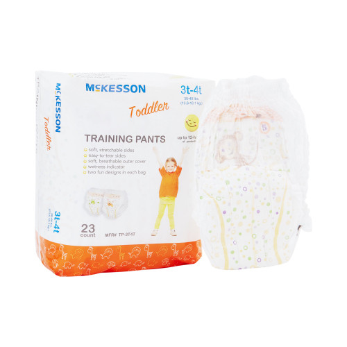 McKesson Unisex Disposable Toddler Pull On Training Pants with Tear Away Seams, Heavy Absorbency, TP-3T4T, 3T-4T (30-40 lbs) - Case of 4 Bags