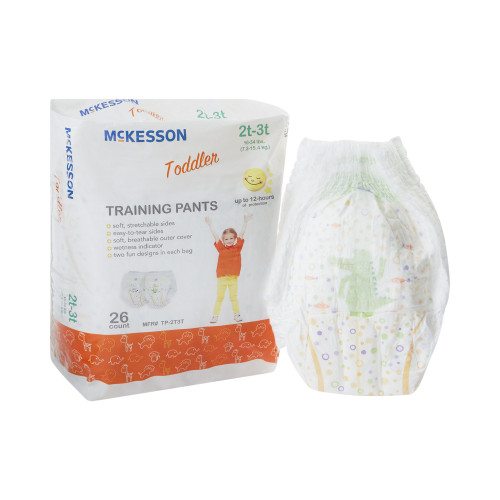 McKesson Unisex Disposable Toddler Pull On Training Pants with Tear Away Seams, Heavy Absorbency, TP-2T3T, 2T-3T (16-34 lbs) - Case of 4 Bags