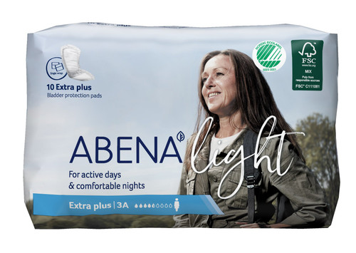 Abena Light Extra Plus Disposable Unisex Adult Bladder Control Pad, Moderate Absorbency, 1000017159, One Size Fits Most -  Bag of 10