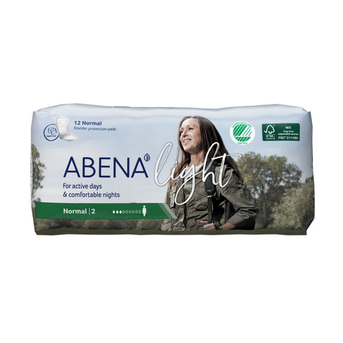 Abena Light Normal Disposable Unisex Adult Bladder Control Pad, Light Absorbency, 1000017157, One Size Fits Most -  Case of 144 Pads (12 Bags)