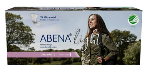 Abena Light Ultra Mini Unisex Adult Bladder Control Pad, Light Absorbency, 1000005436, One Size Fits Most -  Case of 240 Pads (10 Bags)