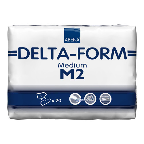 """Abena Delta-Form Unisex Disposable Adult Diaper with Tabs, Moderate Absorbency, 308862, Blue - Medium (28-40"""") - Bag of 20"""