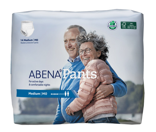 """Abena Unisex Disposable Pull On Adult Diaper with Tear Away Seams, Moderate Absorbency, 1000017173, Medium (31-43"""") - Bag of 14"""