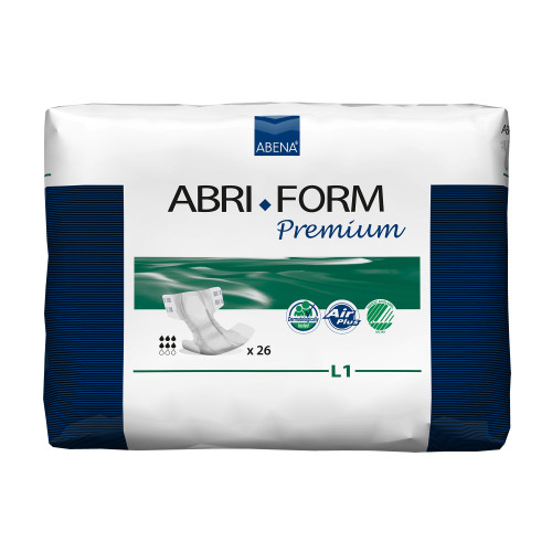 """Abri-Form Premium L1 Unisex Adult Disposable Diaper with tabs, Heavy Absorbency, 43066, Large (40-60"""") - Case of 104 Diapers (4 Bags)"""