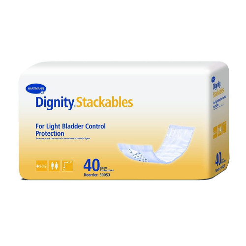 """Dignity Stackables Adult Unisex Disposable Bladder Control Pad, Light Absorbency, 30053-180, Medium (3.5-12"""") - Case of 180 Pads (4 Packs)"""