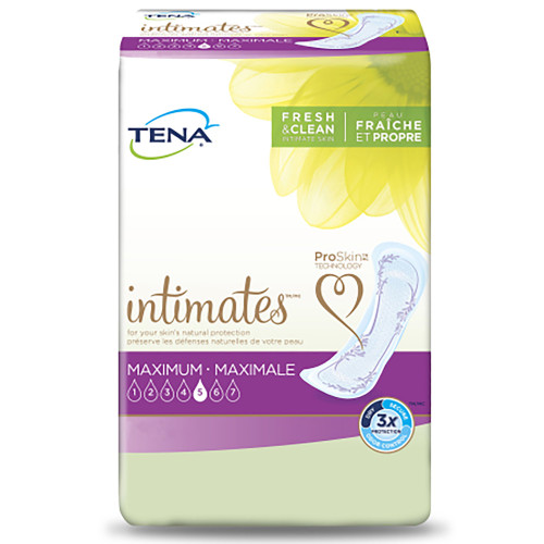 """TENA Intimates Maximum Adult Female Disposable Bladder Control Pad, Heavy Absorbency , 54283, One Size Fits Most (14"""") -  Case of 72 Pads (6 Bags)"""
