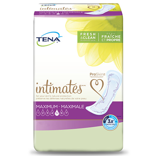 """TENA Intimates Maximum Adult Female Disposable Bladder Control Pad, Heavy Absorbency , 54268, One Size Fits Most (15"""") - Case of 72 Pads (6 Bags)"""