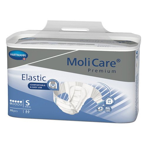 """MoliCare Premium Elastic 6D Disposable Brief Adult Diapers with Tabs, Moderate Absorbency, 165271, Small (27-35"""") - Bag of 30"""