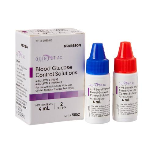 McKesson Quintet AC Blood Glucose Control Solution, Level 2 & 4, 5052, 1 Box