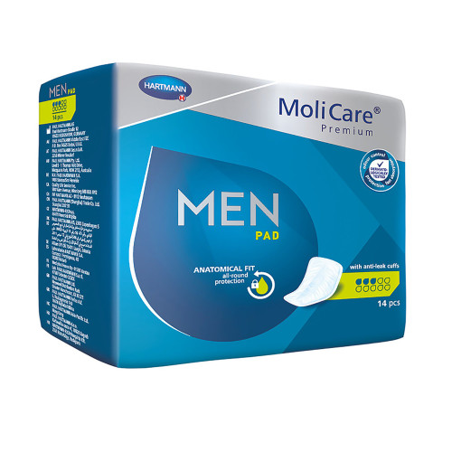 MoliCare Premium Men's Bladder Control Pad, Light Absorbency, 168603, One Size Fits Most - Bag of 14