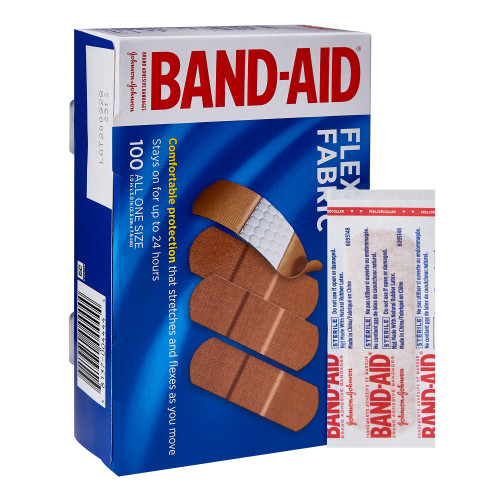 """Band-Aid Flex Fabric Adhesive Bandages, All in One Size, 1 X 3"""", 10381370044441, Box of 100"""