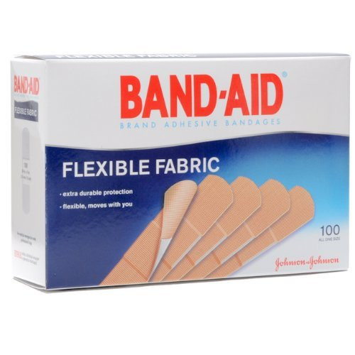 "Band-Aid Flexible Fabric Adhesive Bandages, 3/4 X 3"", 10381370044342, Box of 100"
