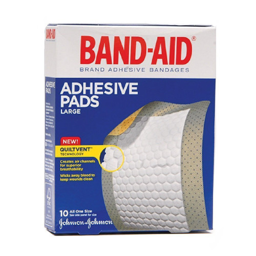 """Band-Aid Adhesive Pads Large with Quiltvent Technology, 2-7/8 X 4"""", 00381371183388, Box of 10"""
